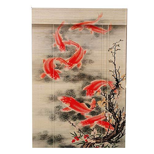 Wenzhe cortina di bambù tenda a rullo in bambù stampa ombra avvolgibile casa ufficio ornamento appeso durevole, bambù pregiato, installazione interna/esterna, 4 colori