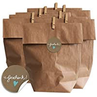 Eine der Guten Geschenktüten Set - Geschenk - mit blauem Herz, SET für Plätzchen, Kekse und Geschenke mit 24 Tüten, Miniklammern und Geschenk-Aufklebern, MATTE Papieraufkleber