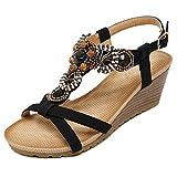 Minetom Femme Été Talon Compensé Peep-Toe Sandales Doux Fashion Perles Fille Sandales Herringbone Bohême Noir EU 39