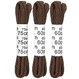 3er-Pack runde Schnürsenkel Schuhbänder Rundsenkel Allroundsenkel, reißfest und schlicht für Leder- und Businessschuhe in mehreren Farben erhältlich (braun)