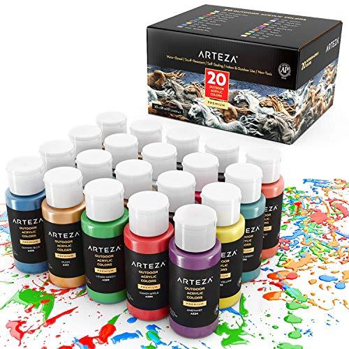ARTEZA Colori Acrilici per Dipingere Resistenti da Esterno, Set di 20 Colori/Tubetti(59 ml) con Scatola, Ricchi di Pigmenti, Per Multi-Superfici come Sassi, Legno, Tessuti, Carta, Tela, Pittura Murale