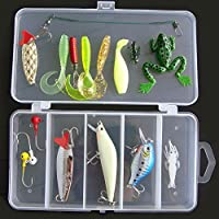 Lixada 16pcs Artificial Señuelo de Pesca Cebo Suave Duro con Caja de Pesca Bait Minnow