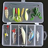 Lixada 16Pcs Artificial Fishing Lure Set Hard Soft Bait Minnow Spoon Crank Shrimp Jig Hook with Fishing Tackle Box