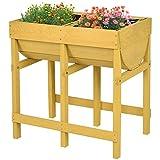 COSTWAY Hochbeet Blumenkasten Pflanzkasten Blumenbeet Blumentrog mit 2 Fächern aus Holz