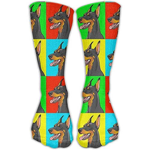 Cool Crazy Doberman Pinscher Dogs Pattern Novelty Funny Cotton Crew Dress Socks