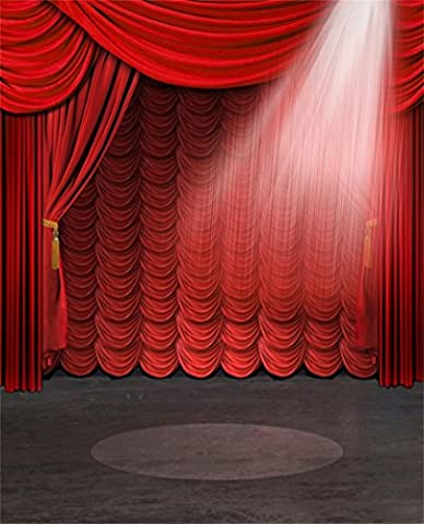 Aaloolaa Photography Backdrops Photo Background Red Stage Curtain Spotlight Blurry Floors Lovers Girl Kids Children Baby Newborn Portrait Ceremony Scene Props for Video Shooting Studio - 3x5ft