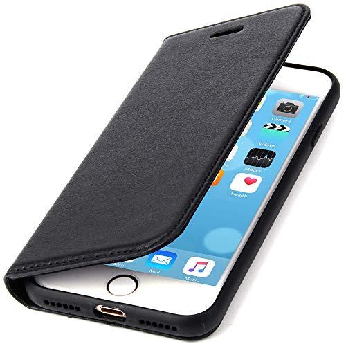 CoinKeeper Echt Ledertasche kompatibel mit Apple iPhone 7/8