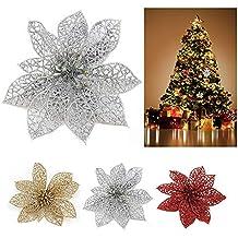 GZQ 20 pcs Flores Artificiales para Navidad, Flores Artificiales para árbol de Navidad,Ornamento