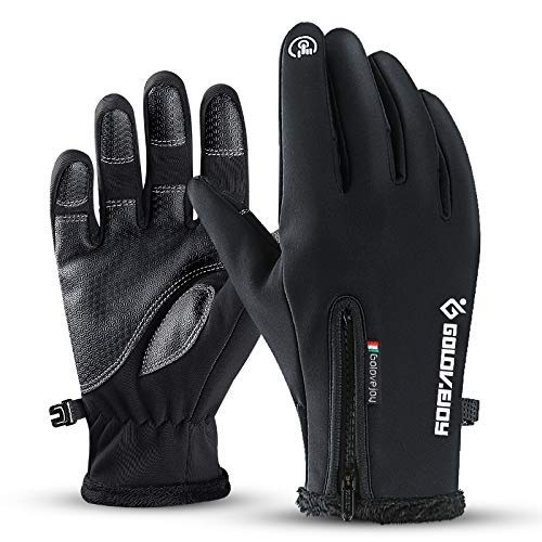 Muro Winter Gloves Running Thermal Gloves Skiing Gloves Warm Gloves Anti-slip Touchscreen Gloves for Men Women Sport Walking Riding Driving Cycling (black, m)