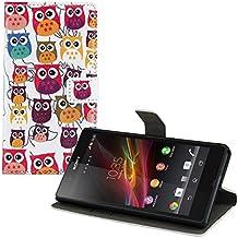 kwmobile Funda para Sony Xperia Z - Wallet Case plegable de cuero sintético - Cover con tapa tarjetero y soporte Diseño familia de búho en multicolor rosa fucsia blanco