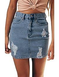 7941d696b51c SUCES Damen Jeans Rock Jeansskirt Minirock Stretch Slim-Fit Blue Denim Vintage  Jeansrock Hohe Taille Schlank Denim Destroyed Ripped…