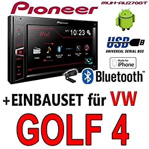 VW golf iV - 4 pioneer mVH-aV270BT - 2DIN autoradio multimédia avec bluetooth cD/sans kit