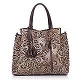APHISONUK Handtaschen für Frauen Designer Satchel weiche Kuh Leder Tote Handtaschen Schultertaschen (grau)