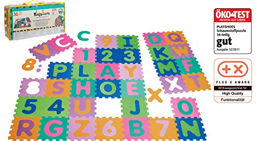 Playshoes 308738 - Puzzlematte für Babys und Kinder, Buchstaben und Zahlen, Spielmatte Spielteppich Schaumstoffmatte, 36-teilig, mehrfarbig