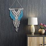 Dyna-Living Wandteppiche,Handgefertigte Boho Makramee Wandbehang Home Decor Beige & Blau