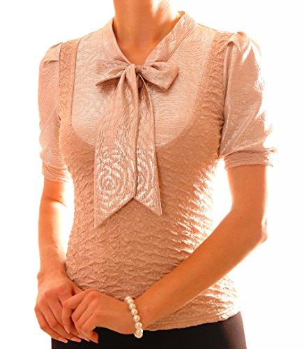 Tag Kleid Liebe Label (PoshTops Damen Bluse mit Ribbon-Ausschnitt Dehnbares Strukturiertes Material Damenshirt Kurze Puffärmel Größen S – XXXL Abendkleidung Freizeitkleidung Plus Size (Beige, S / 36/38))