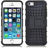 iPhone 5 Hülle, JAMMYLIZARD [ ALLIGATOR ] Doppelschutz Outdoor-Hülle für iPhone 5 / 5s / SE, SCHWARZ