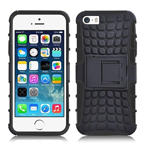 iPhone SE, iPhone 5 / 5s Hülle | JAMMYLIZARD Schutzhülle [Alligator] Doppelschutz Handyhülle Hardcase aus Polycarbonat und Silikon TPU Backcover Lifeproof Case Cover, Schwarz