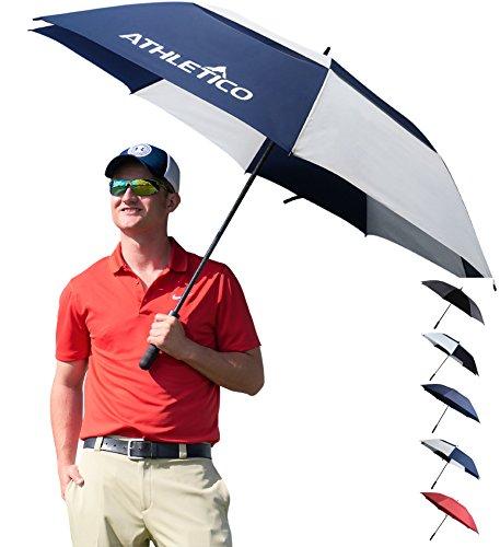 Athletico - Paraguas de golf con apertura automática, tamaño extragrande de 157,5 a 172,7 cm, doble toldo, resistente al viento y al agua, con mango de goma ergonómico, 68 inch, Navy Blue/White