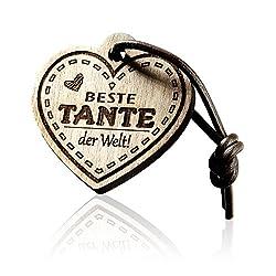 FORYOU24 Schlüsselanhänger Herz mit Gravur aus Holz - Beste Tante