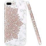 JIAXIUFEN iPhone 7 Hülle, iPhone 8 Hülle, Glänzend Rose Gold Mandala Flower Marble Soft TPU Silikon Schutz Handy Hülle Handytasche HandyHülle Case Cover Schutzhülle für Apple iPhone 7/iPhone 8