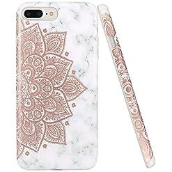 Capa para iPhone 7 Plus e 8 Plusde mármore e mandala dourada
