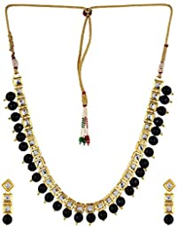 PANASH RAJASTHANI SQUARE KUNDAN WITH BLACK BEADS NECKLACE SET