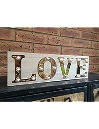 Amor Luz de madera sube la muestra Carnival Display Plaque decoración de la boda de la vendimia