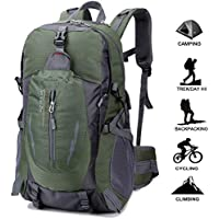 Geila Deportes al aire libre impermeable 40L senderismo Camping Daypack equipaje mochila (Ejercito verde)