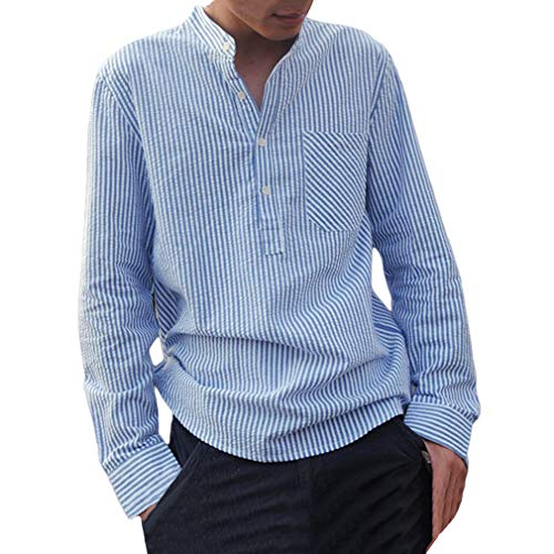 Camicia a righe uomo moda manica lunga regular fit shirt con bottoni uomo collo coreano casual camicie tops per primavera e autunno