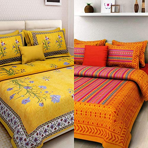 Ealth Kart 144 TC 100% Jaipuri Cotton Combo Set of 2 Double Bedsheet with 4 Pillow Covers - Multi