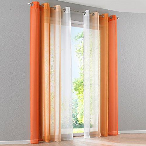 2er-Pack Verlauf-Farben Muster Voile Gardinen Schal Vorhänge mit Ösen, BxH 140x225cm, Orange