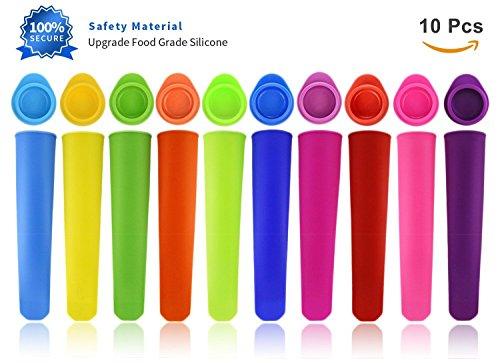 Joyoldelf 10er-Set Eis am Stiel Formen - Wiederverwendbare Stieleisformer aus 100% Lebensmittelsilikon - BPA Frei - Perfekt für Kinder und Erwachsene (10 Eis)