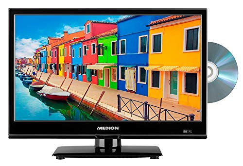 MEDION E11682 39,6 cm (15,6 Zoll) HD Fernseher (HD Triple Tuner, DVB-T2 HD, DVD-Player integriert, 12V KFZ Car-Adapter, CI+, Mediaplayer) 15.6 Dvd