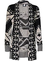 (womens drape front aztec long cardigan)(mtc) femmes aztèque longue cardigan