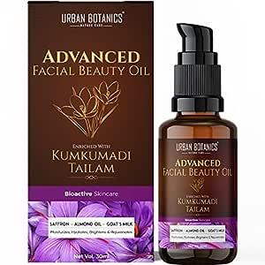 UrbanBotanics Kumkumadi Tailam for Glowing Skin - Kumkumadi Oil for Face - Brightening, Whitening, Ageing, Wrinkles, Fine Lines, Pigmentation - Men & Women, 30ml
