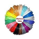 NRG Clever RP3D_PLA6_20, 3D Pen filamento recambios 1.75mm PLA material de 20 colores únicos 19.6 pies cada color, total 395 pies lineares para NRG Clever RP100A