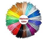 NRG CLEVER RP3DPLA620, 20 Colori, 6 metri cadauno, 3D della penna filamento ricariche 1,75 millimetri materiale PLA Totale 120 metri lineari