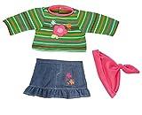 Bayer Design 8463100 - Kleidung für Puppen, Jeansrock mit Shirt, circa 40-46 cm