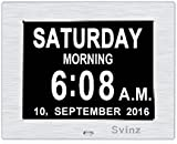 New Version 3 Alarms Clock, Mid or Low Auto Dimmable Display -Svinz Memory Loss Day Clock Digital Calendar - Extra Large Non-Abbreviated Day & Month - SDC006 -Brushed Silver