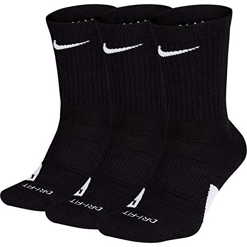 Nike U NK Elite Crew 3PR Socks, Black/White, M -