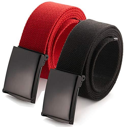 Zugeschnittener Gürtel aus Segeltuch, Größe bis 132,2 cm, mit Flip-Top, solide, schwarze Militärschnalle (16 Farben und Kombinations-Pack-Optionen) -
