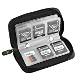 #1: ELV Memory Card Carrying Case - Perfectly Suitable for SDHC and Micro SD Cards, 22 Slots SD Cards Storage Pouch Wallet - Jet Black [ Memory Cards and Stickers NOT Included]