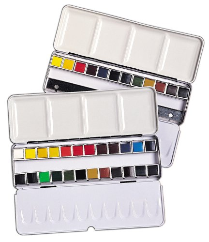 Daler-Rowney Aquafine Zeichenblock Paint Half Pfannen in Metall Box (Set of 24)