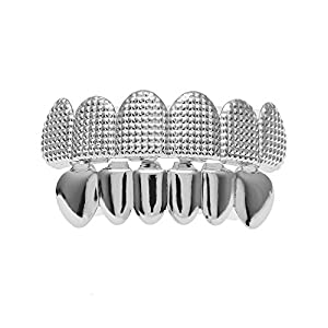 MCSAYS Hiphop Zähne Grillz GANGSTER Set (Top & Bottom) Gird Muster CZ Zähne Grillz Gold / Splitter Farbe Zahnkappen für Männer / Frauen Geschenke