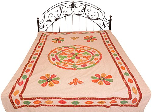 rugby-tan-stonewashed-single-bed-bedspread-from-jaipur-with-applique-flowers-and-mirrors-pure-cott