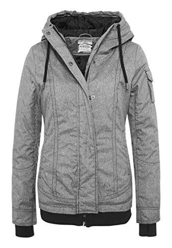 SUBLEVEL Damen Winterjacke mit Kapuze I Sportliche Jacke warm gefüttert im Melange Look dark-grey L