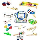 26 pezzi Strumenti Musicali per Bambini e Borsa, Percussioni con Xilofono, Triangolo, Nacchere, Tamburello, Cembali, Tamburelli a sonagli, Maracas, Shaker, Guiro, Sonagli, Sistro, Campanelle, Kazoo