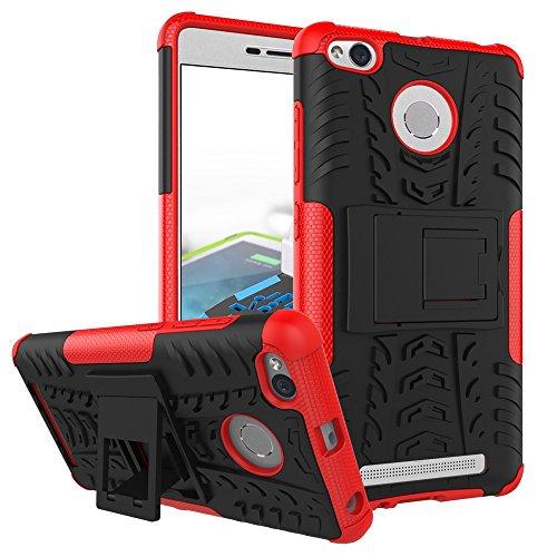 YHUISEN Hybrid Neue Dual Layer-Rüstungs-Kasten Abnehmbare Hinterbauständer 2 in 1 Stoß- Tough Rugged Case für Xiaomi Redmi 3S / 3 Pro ( Color : Black , Size : Xiaomi Redmi 3S ) Red