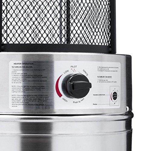 Blumfeldt Goldflamme V2A • Terrassenheizer • Heizstrahler • Gas-Heizer • 12 kW Heizleistung • Butan-/Propan • Brennröhre aus Quarz-Glas • Piezozündung • Edelstahlgehäuse • Transportrollen • silber; - 3
